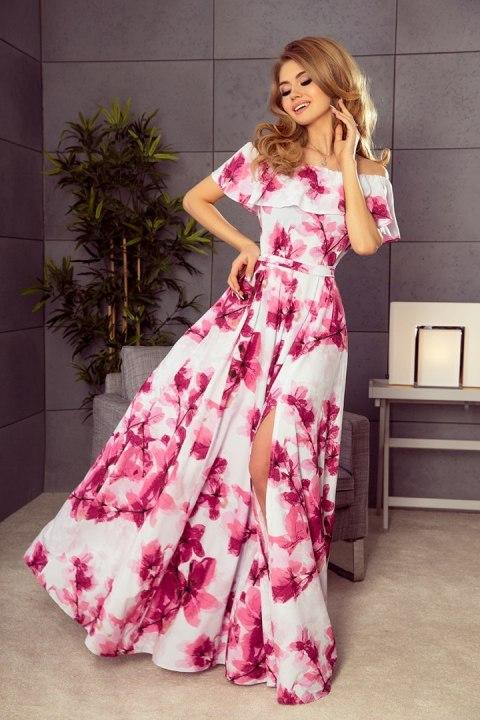 194 2 Długa suknia z hiszpańskim dekoltem duże różowe kwiaty